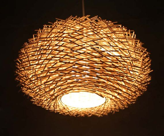 Staggered Form Natural Rattan Bird S Nest Pendant Light