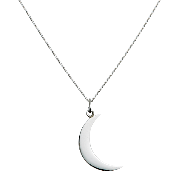 Blue billie silver and gold big moon necklace Scandinavian jewelry