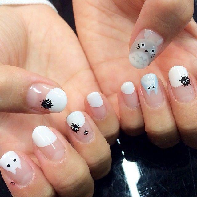 癒される♡ nail キャラクター ジブリ ネイル トトロネイル トトロ かわいい 真っ黒くろすけ\u201d