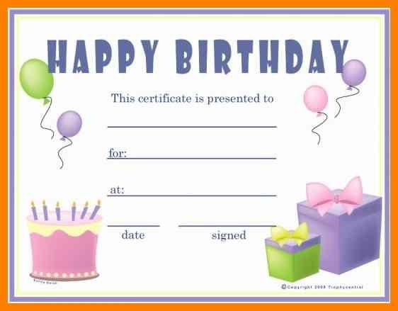 Gift Certificates Templates Free Printable Birthday Gift