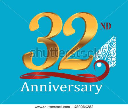32nd golden anniversary logo with white indonesia shadow puppet ornament