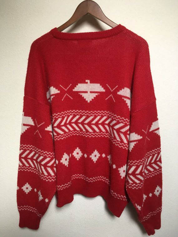 Vintage eagle thunderbird tribal sweater, aztec Southwestern, Native American, red white sweater vtg, TJW Mervyns, size XL oversized unisex
