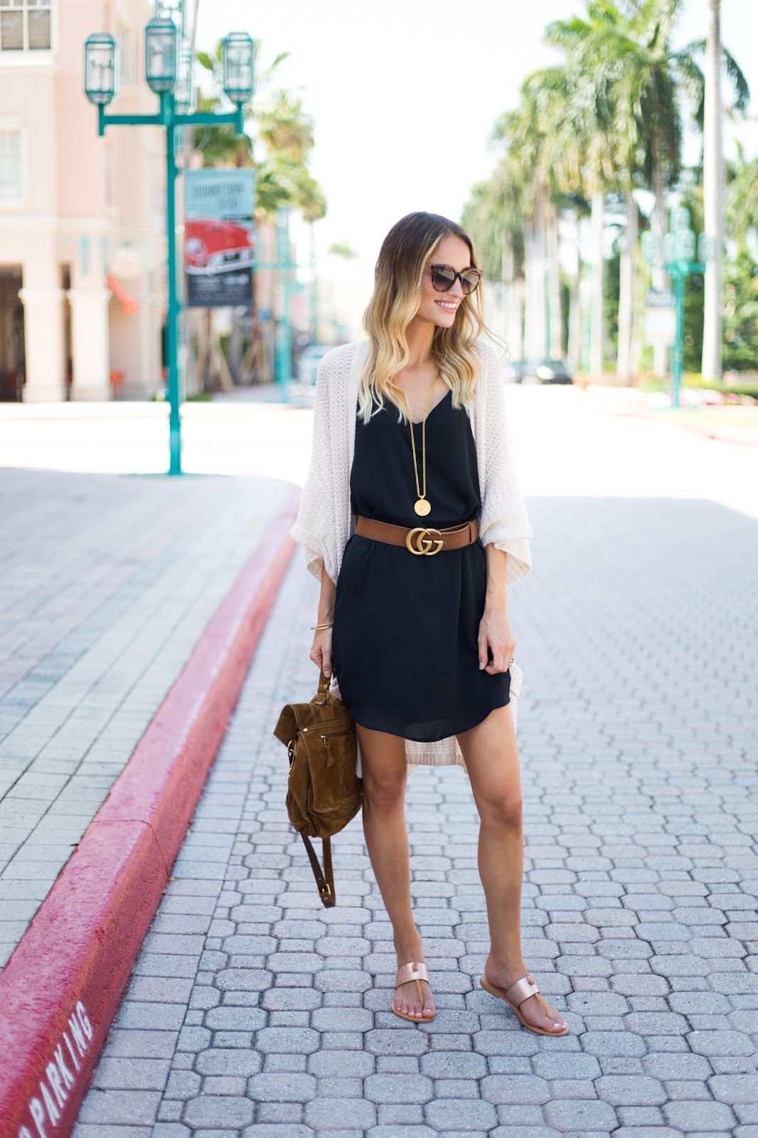 Slip Dress Gucci Belt Oversized Knit Cardigan Effortless Summer Style Summer Slip Dress Summer Fashion Outfits Summer Dress Outfits [ 1600 x 1066 Pixel ]