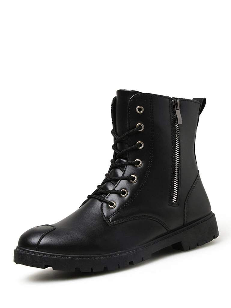 82126ae2a79ed Men Lace Up Side Zip Boots in 2019 | MEN'S SHOES | Side zip boots ...