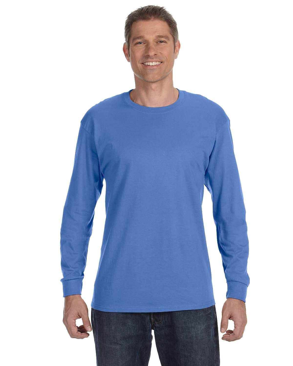 Hanes 5586 Mens Tagless Long Sleeve T-Shirt Lime Pack of 2