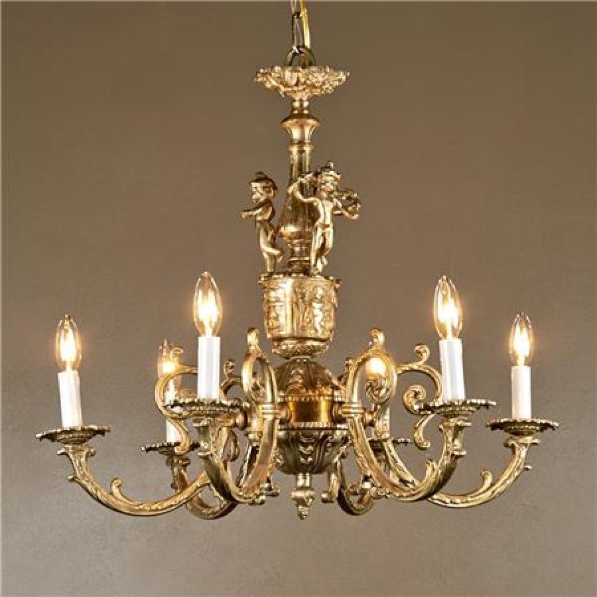 Antique 6 Arm Brass Cherub Chandelier - Shades of Light ...