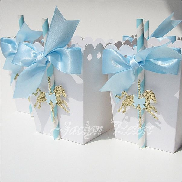 Blue U0026 Gold Carousel Party Popcorn Favor Boxes. Baby Shower ...