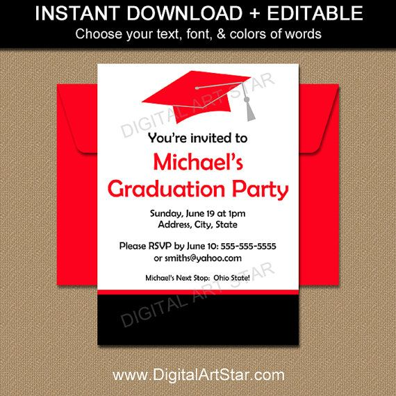 Class of 2017 Invitation - Graduation Party Invitation Printable - class reunion invitation template