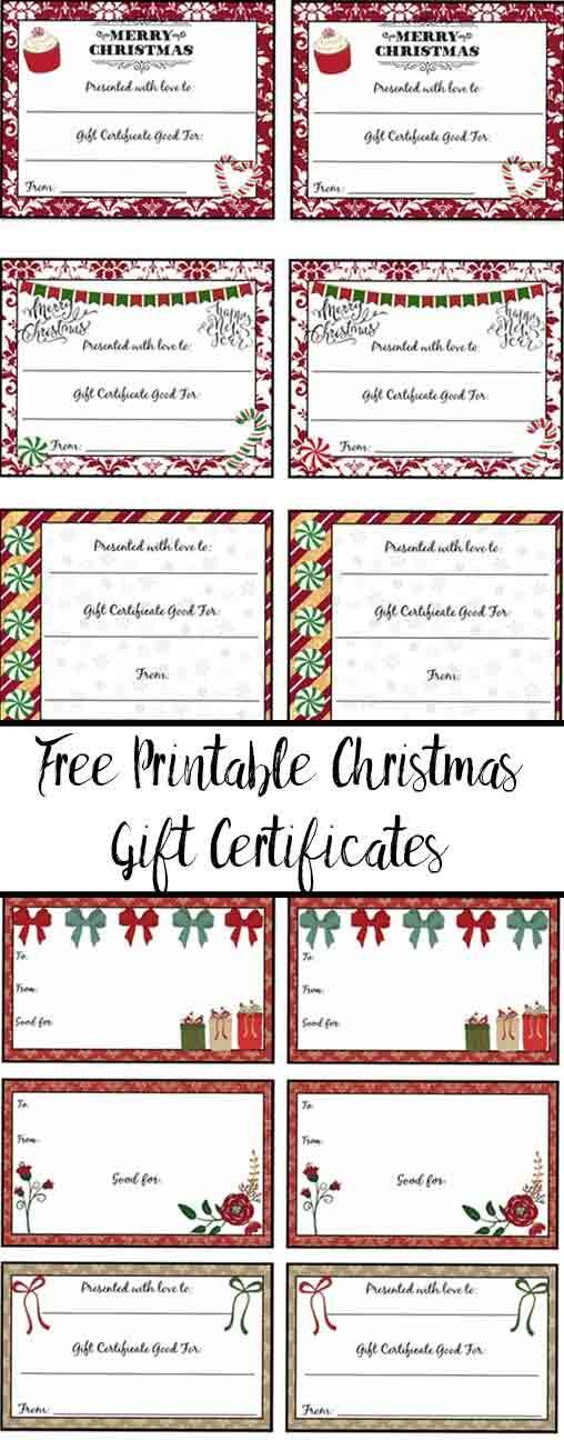 FREE Printable Christmas Gift Certificates 7 Designs, Pick Your - christmas gift certificates free