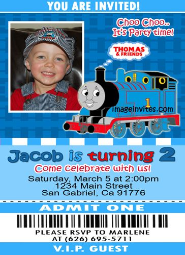 thomas the train ticket photo birthday invitation #7 | invitations, Party invitations