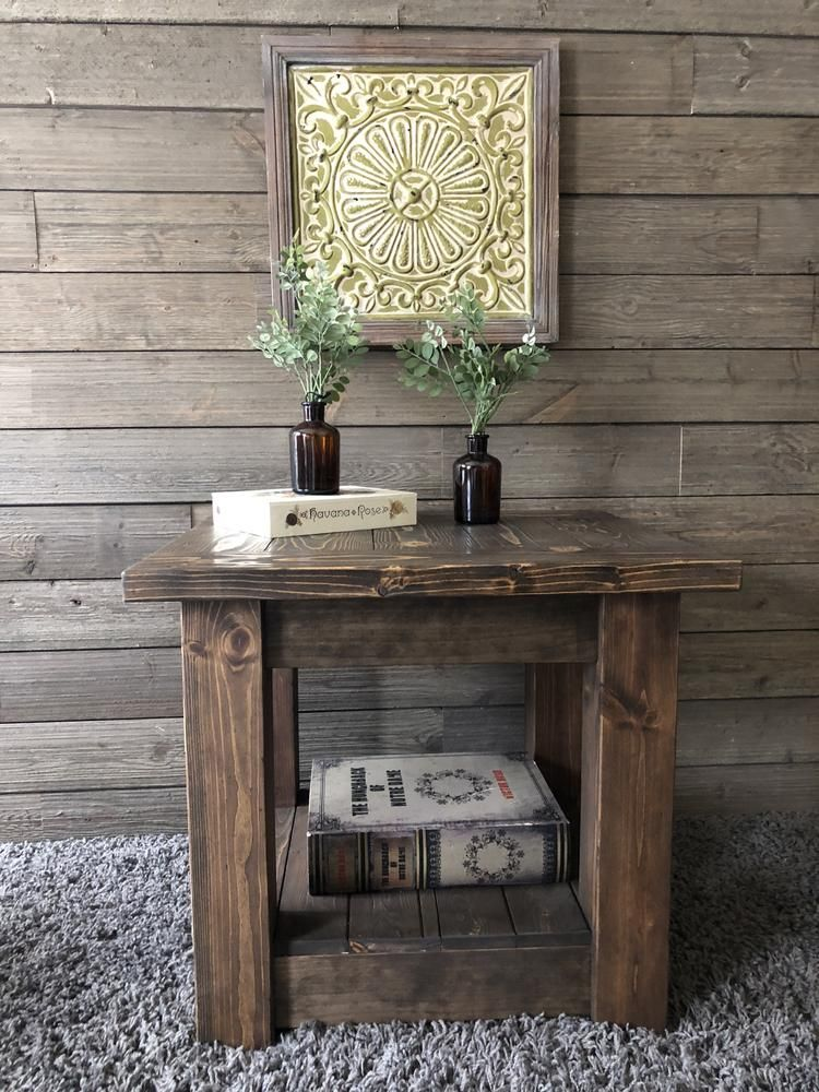 Farmhouse style chunky end table coffee table wood
