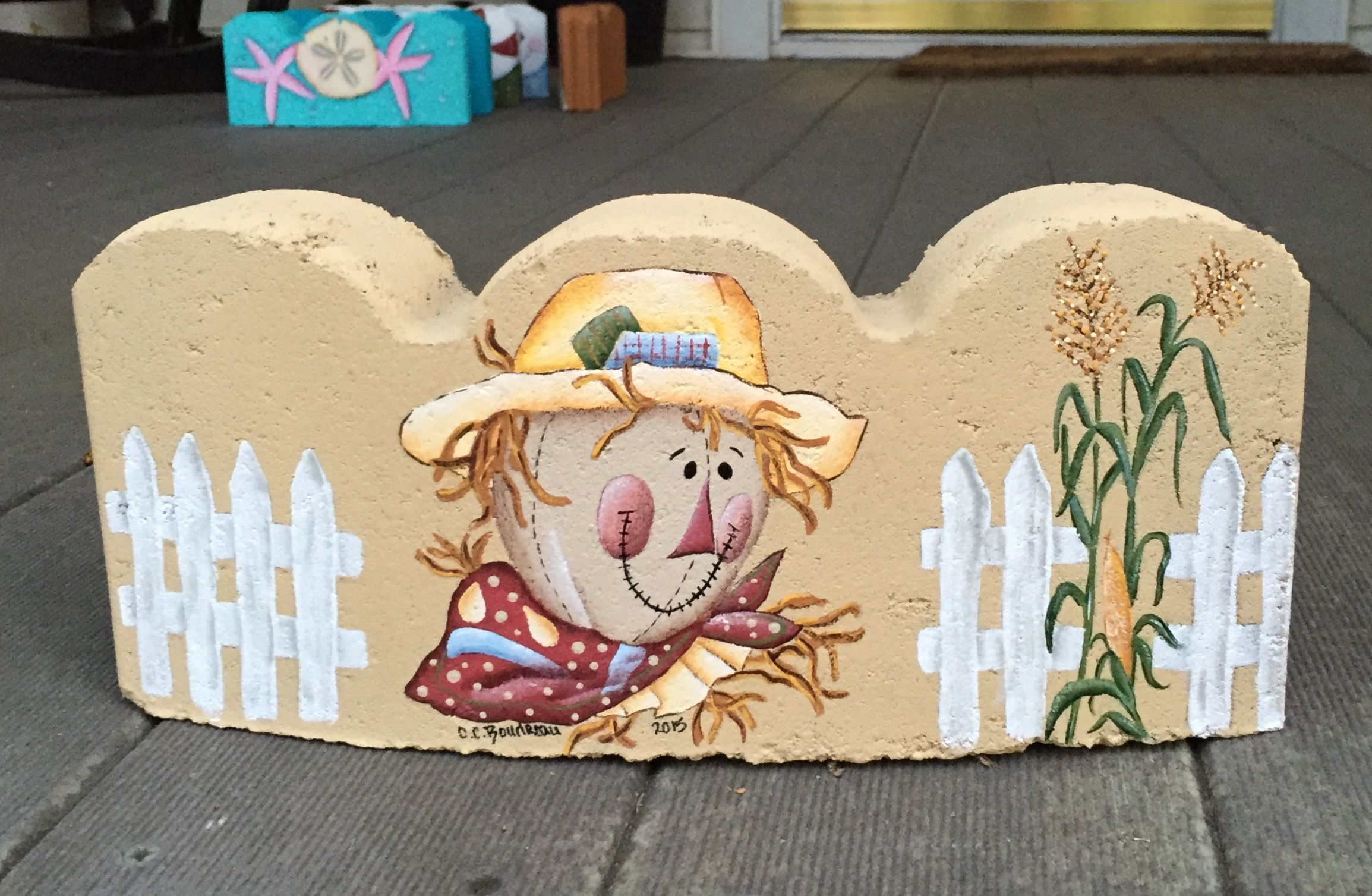 Pin By Kathy Sheffer On Painted By Me Brick Crafts Painted Bricks Crafts Painted Pavers
