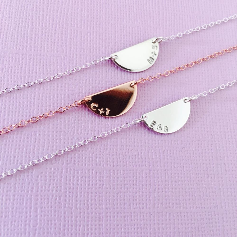 Piper Half Circle Necklace In 2020 Half Circle Necklace Circle Necklace Hand Stamped Jewelry