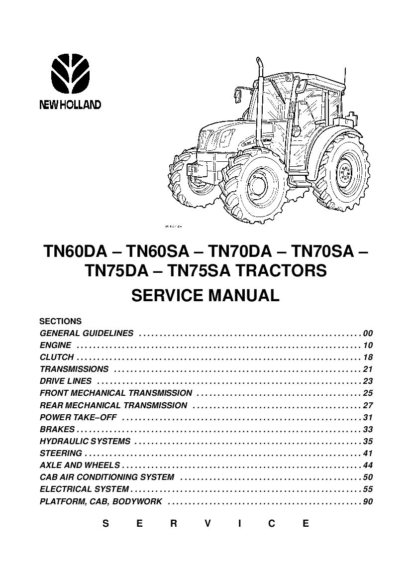 New Holland Tn60da Tn60sa Tn70da Tn70sa Tn75da Tn75sa Tractors Workshop Repair Service Manual Manual Repair Manuals New Holland