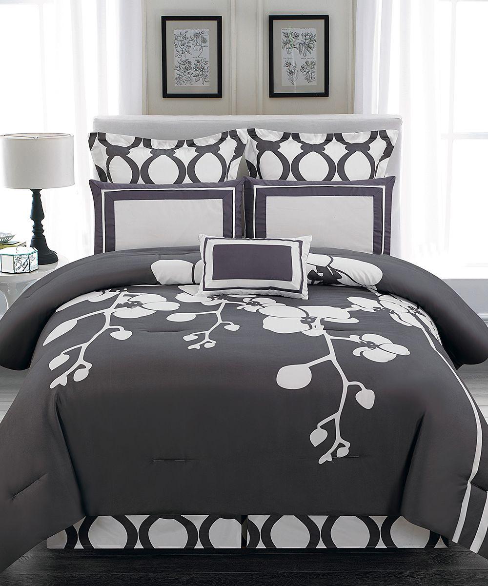 Duck River Textile Slate Gray April Orchidea Flower Reversible Comforter Set