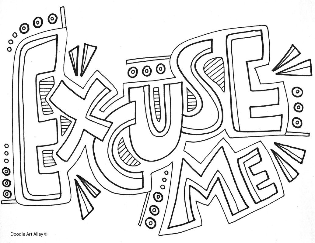 Doodle Art Words Coloring Pages Colouring Art Therapy Words [ 800 x 1035 Pixel ]