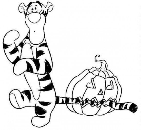 Disney Halloween Tiger Coloring Sheet for Kids Picture 34 550x507 ...