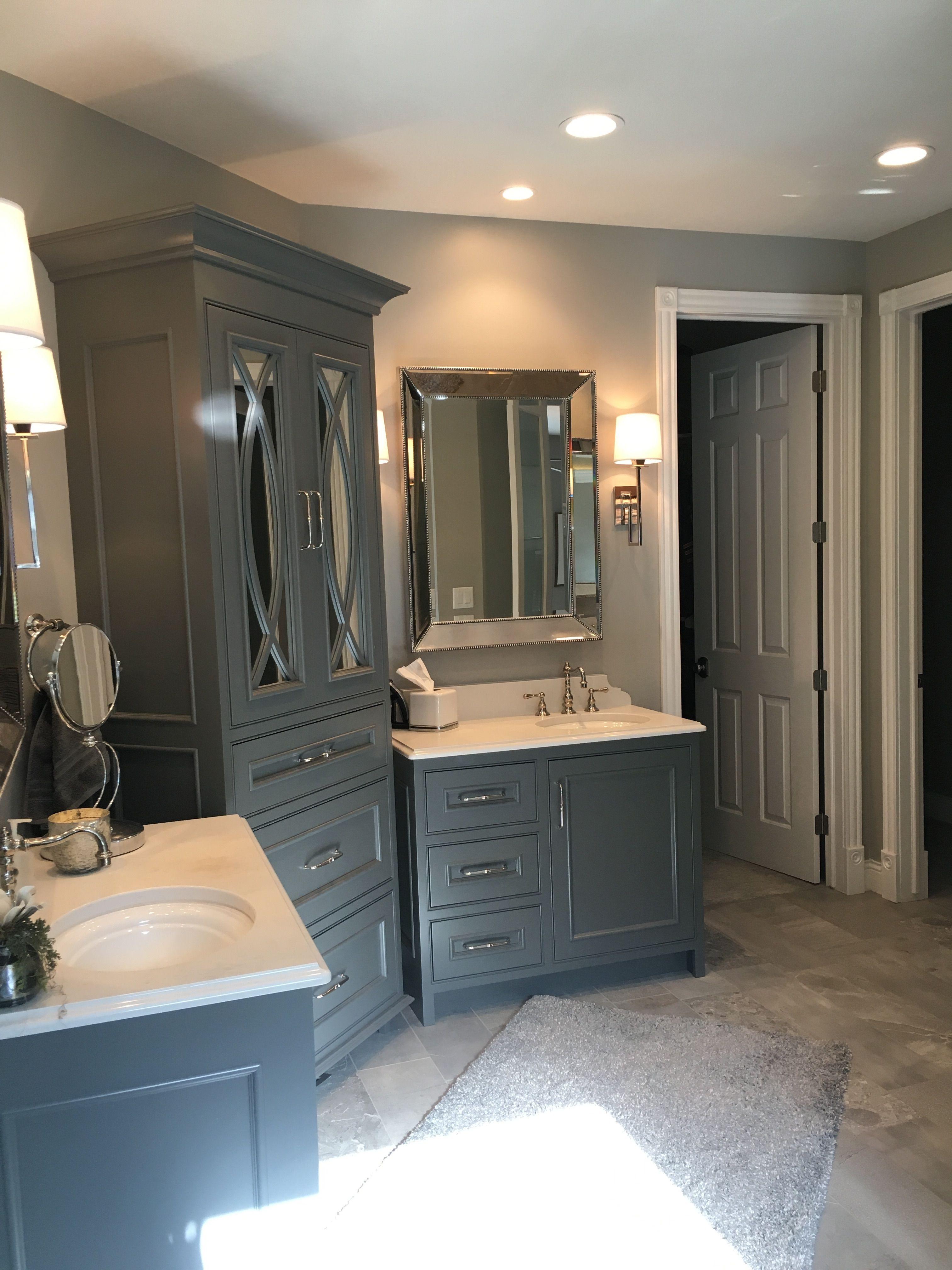 Master Bath, Double Vanities, Gauntlet Gray paint on cabinets