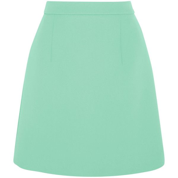 McQ Alexander McQueen Crepe mini skirt (671.220 COP) ❤ liked on Polyvore featuring skirts, mini skirts, bottoms, alexander mcqueen, green, green skirt, short green skirt, green mini skirt, crepe skirt and short mini skirts