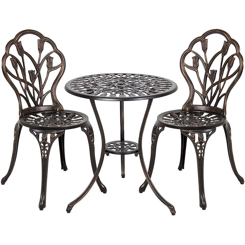 3pcs outdoor patio furniture cast aluminum bistro set table antique bronze white 94 00 0 bids end date saturday sep 15 2018 152627