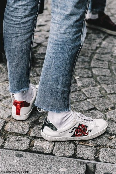 5de477f3b Shoes: tumblr fashion week 2017 streetstyle sneakers white sneakers low top  sneakers socks denim