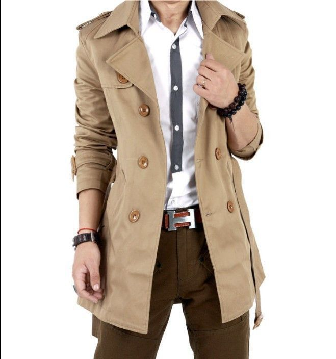 1b38508e093 Autumn Trench Coat Men Double Breasted Trench Coat Men Outerwear Casual  Coat Men s Jackets Windbreaker Mens Trench Coat