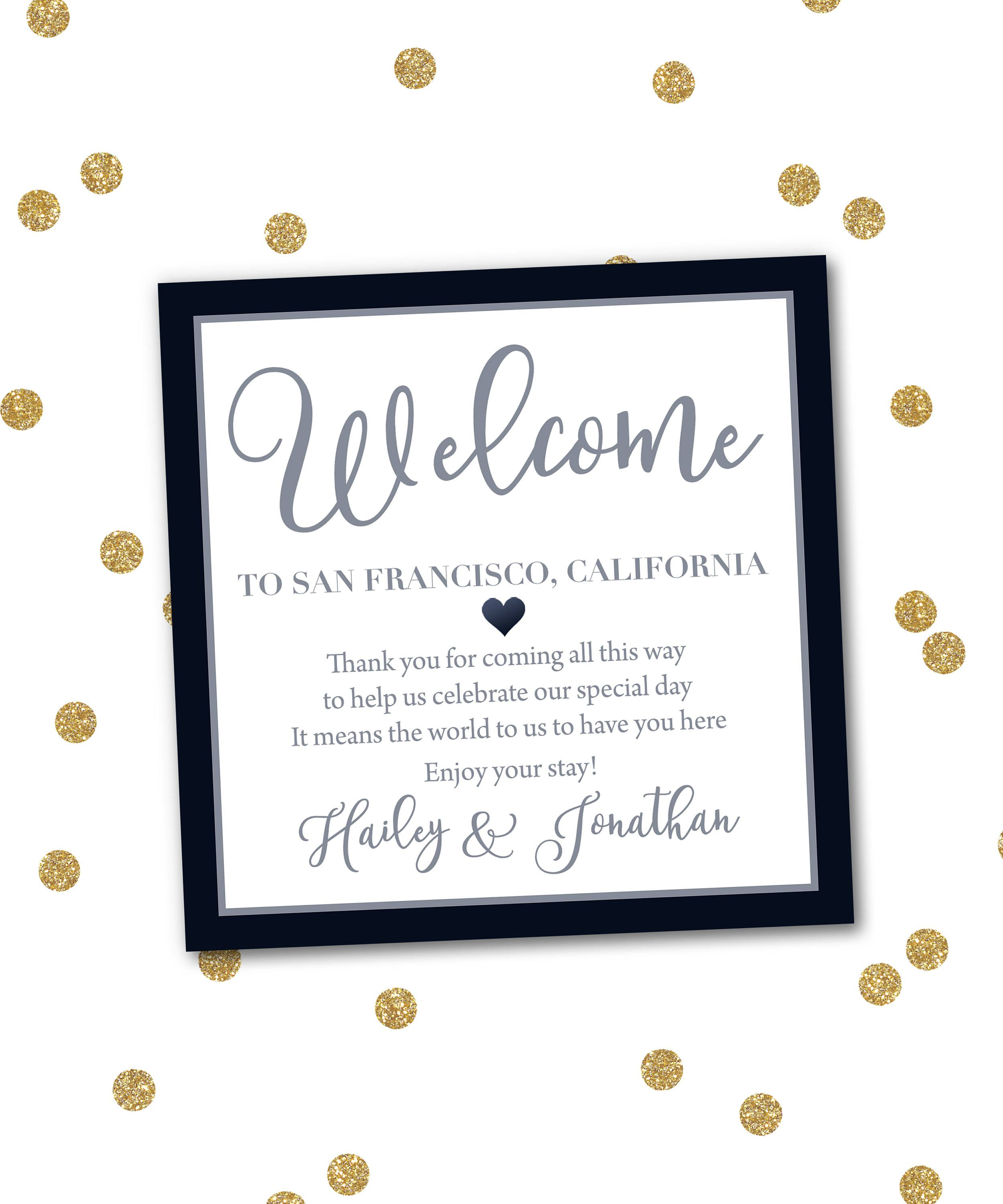 Welcome To Our Wedding Weekend Gable Box Gift Bag Label Stickers