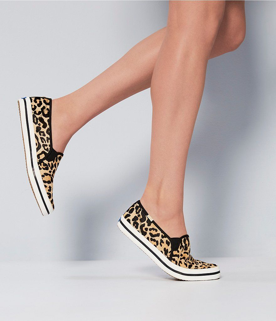 43831417c493 keds x kate spade new york Double Decker Leopard Printed Calf Hair Pony  Sneakers