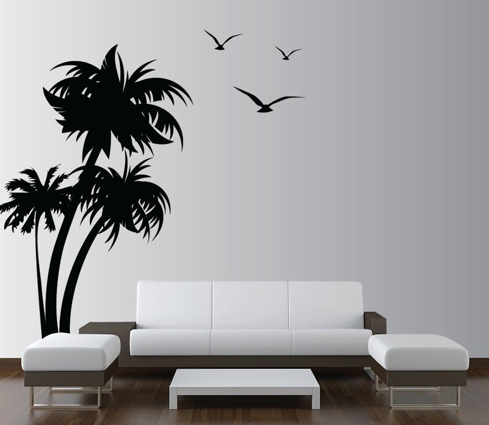 Palm Coconut Tree Wall Decal with seagull birds 3 Trees ...