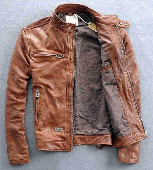 36c93298a28 Мужская куртка кожаная Diesel рыжая в интернет-магазине Шопоголик Мужские  Вещи Из Кожи