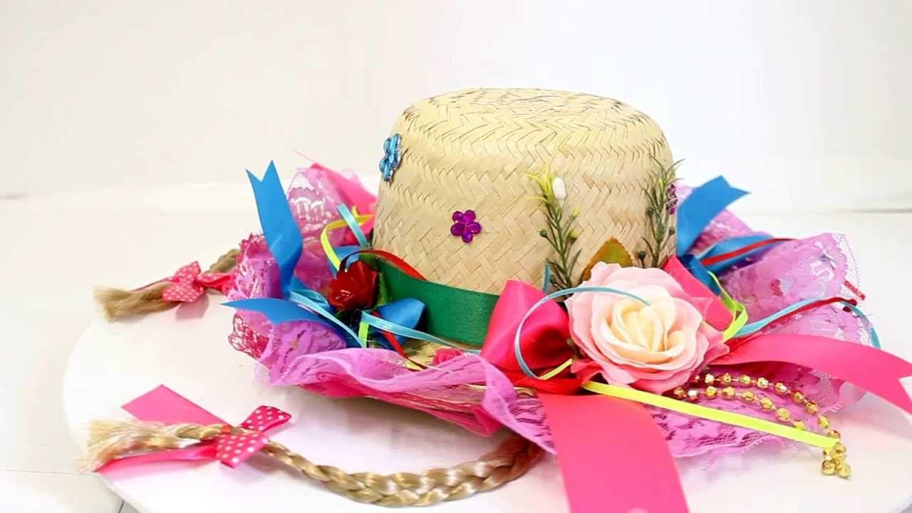 Chapéu feminino caipira decorado para festa junina.  acffcef2f56