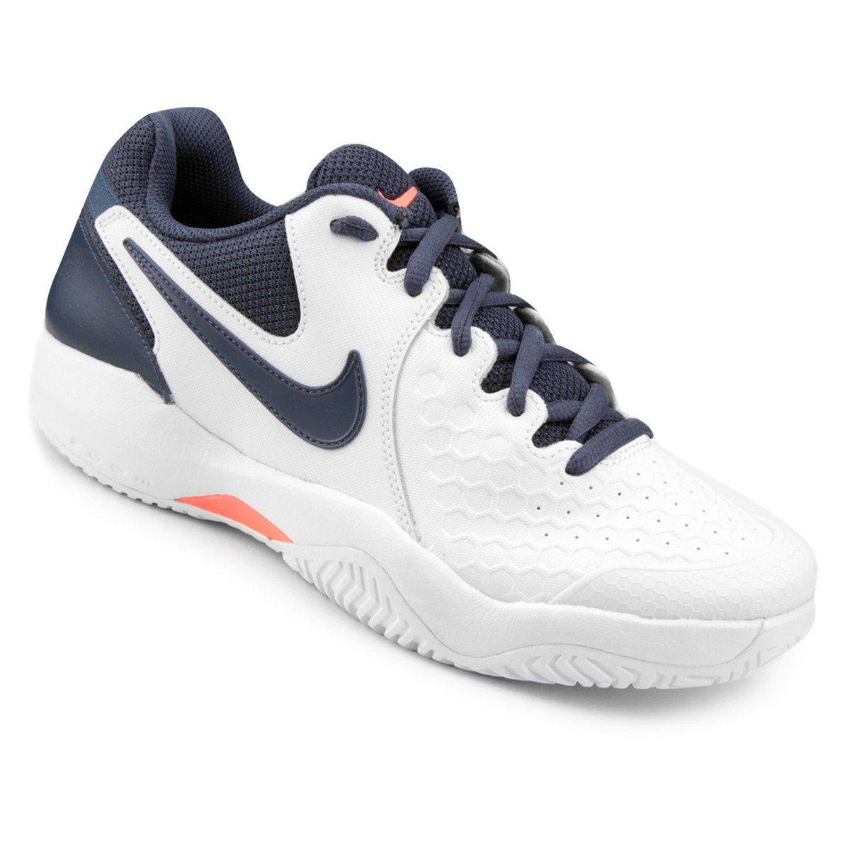 Tênis Couro Nike Air Zoom Resistance Masculino - Branco e Azul ... ab8e344292cb3
