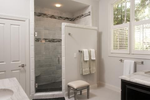 Transitional Bathroom with white stone brick shower wall covering ...