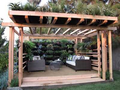 Patio pergola garden wall