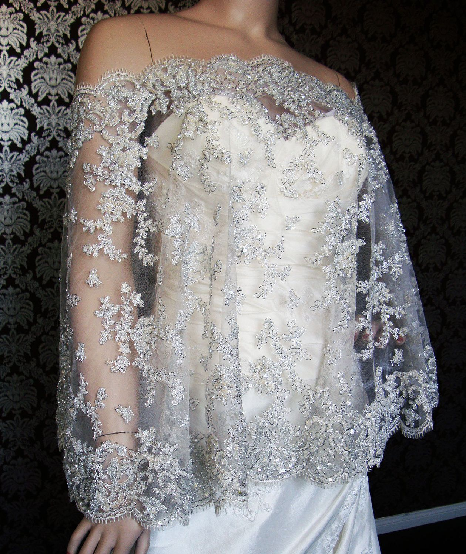 Modern Bride Platinum Capelet Beaded Lace Super Bling Jeweled Cape by IHeartBride Ava Elliston. $600.00, via Etsy.