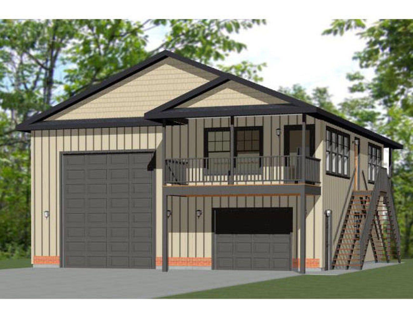 36x40 House 1 Bedroom 1 Bath 902 Sq Ft Pdf Floor Plan Instant Download Model 1b Garage Apartment Plans Garage Design Garage With Living Quarters
