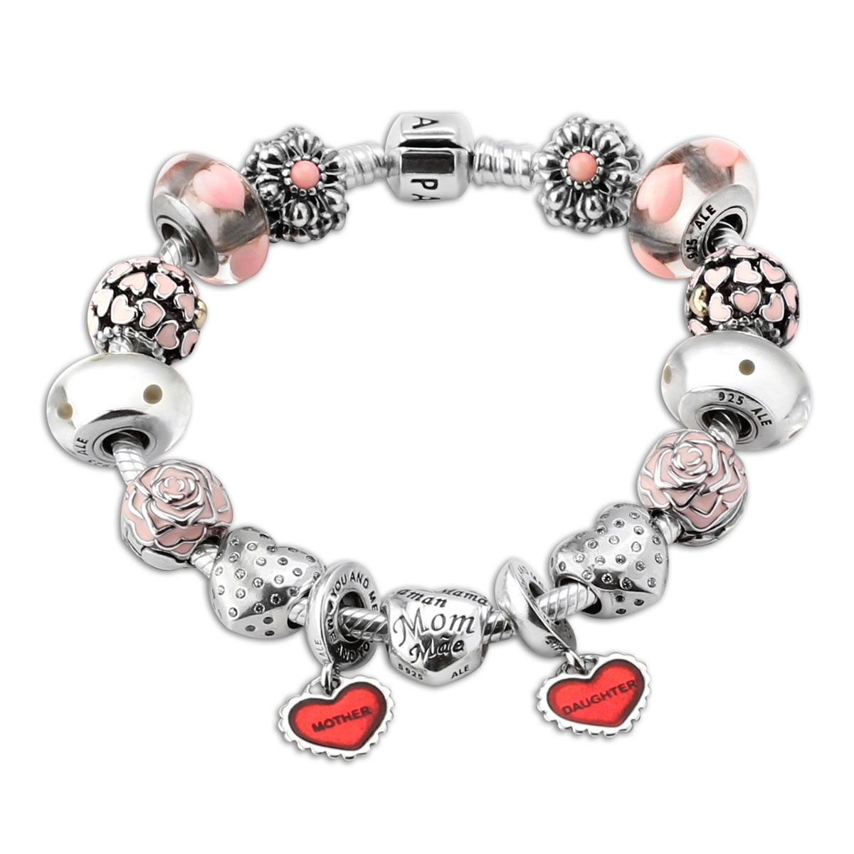 The Pandora Baby Bracelet Features Murano Gl Enamel And Cubic Zirconia In Sterling Silver With A Pink Red Theme This Mother Daughter