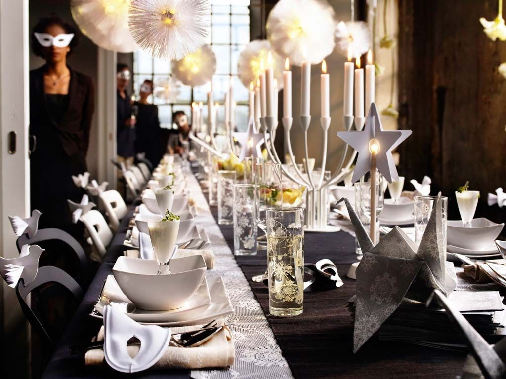Ordinary Elegant Christmas Party Themes Part - 3: Dining-room-designs-gorgeous-white-christmas-and-new-year-home-family-in- Elegant-masquerade-party-theme-with-beautiful-unique-birds-origami-and-stars-dining  ...