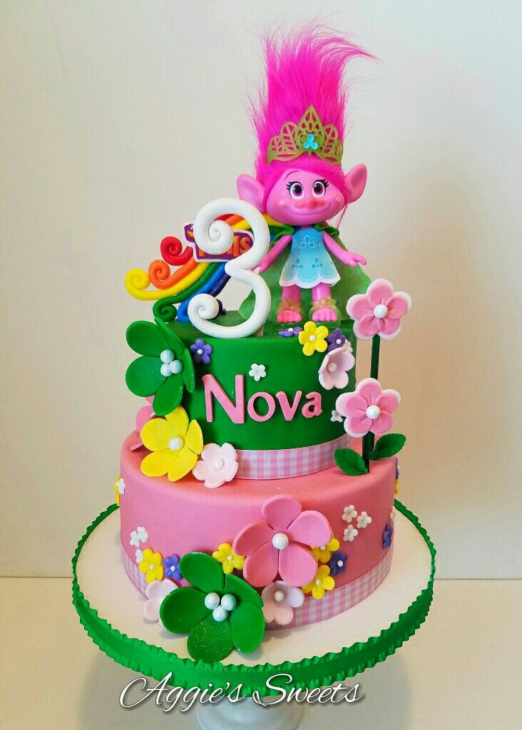 Trolls Themed Birthday Cake With Images Trolls Birthday Cake