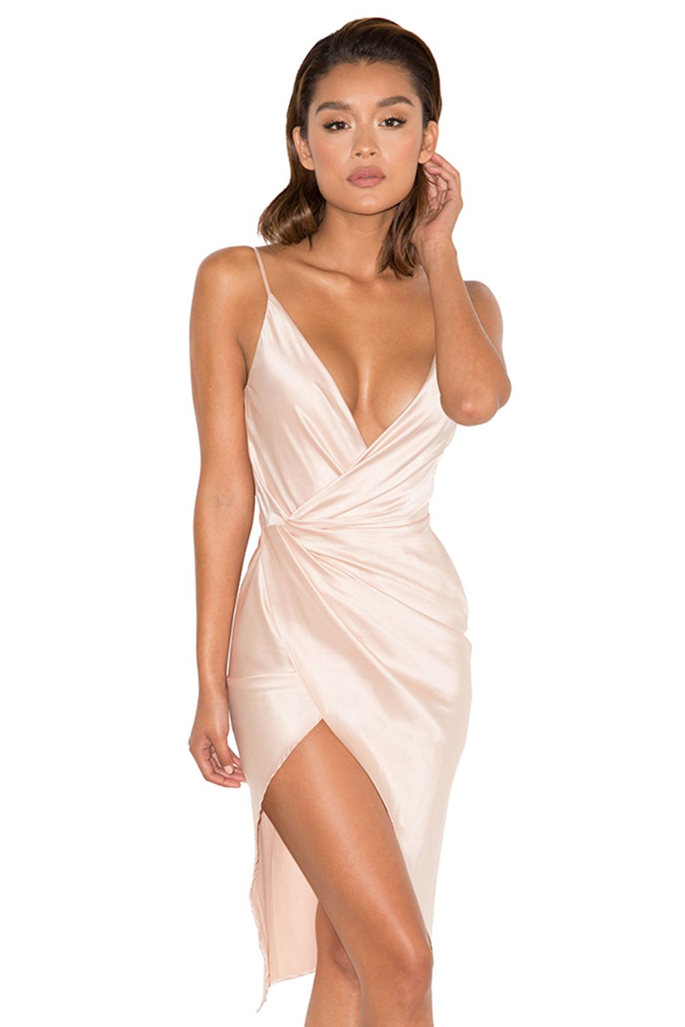 327624f8ae Clothing : Bodycon Dresses : 'Coco' Nude Satin Drape Back Dress ...
