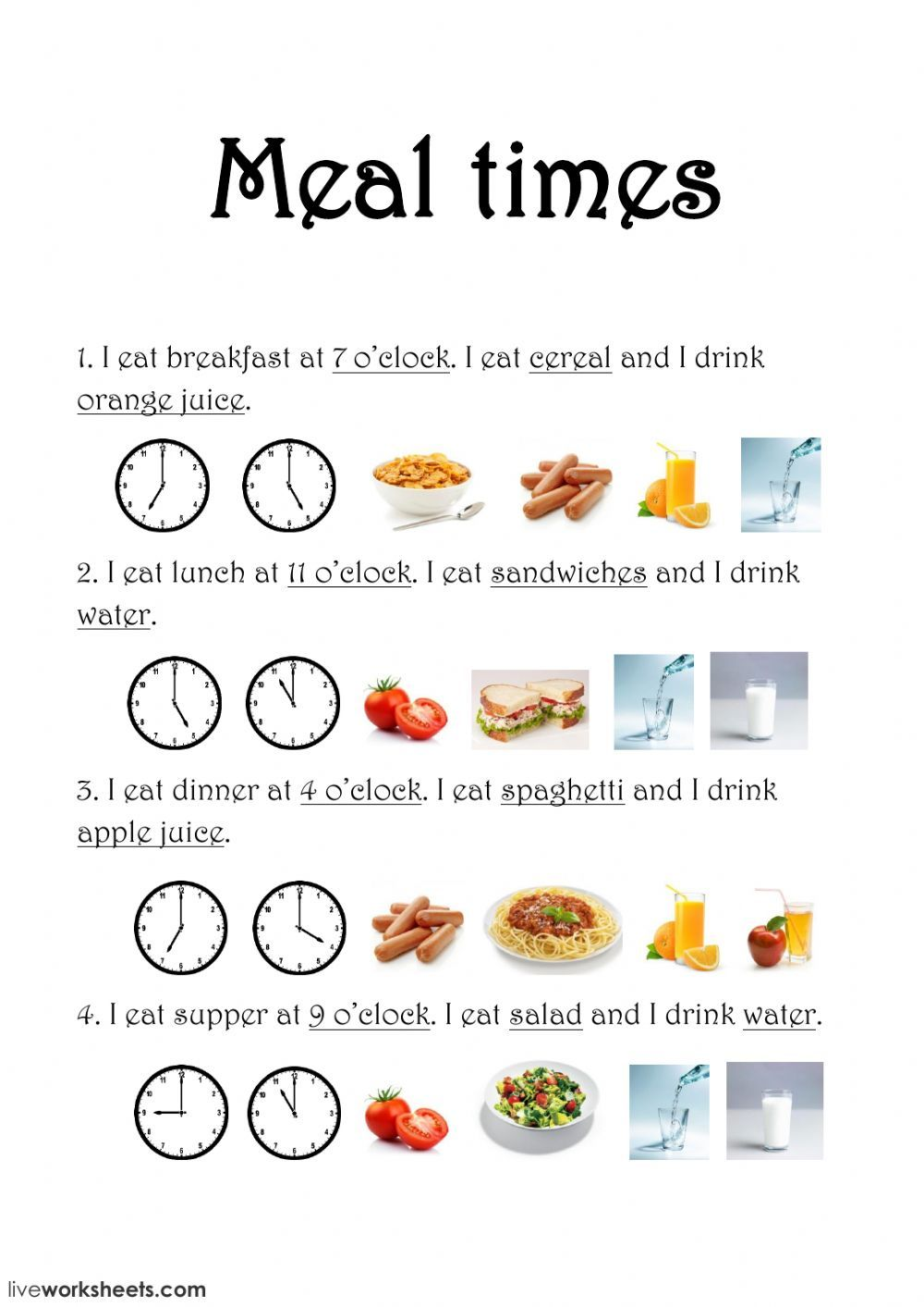 The food interactive and downloadable worksheet. You can do the exercises  online or download the workshee…   Time worksheets [ 1413 x 1000 Pixel ]