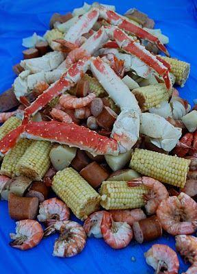 Crab and Shrimp Boil Party. Add some lobster tails and Old Bay seasoning! #Craving #lobster #kingcrab #shrimp Bon Appetite!
