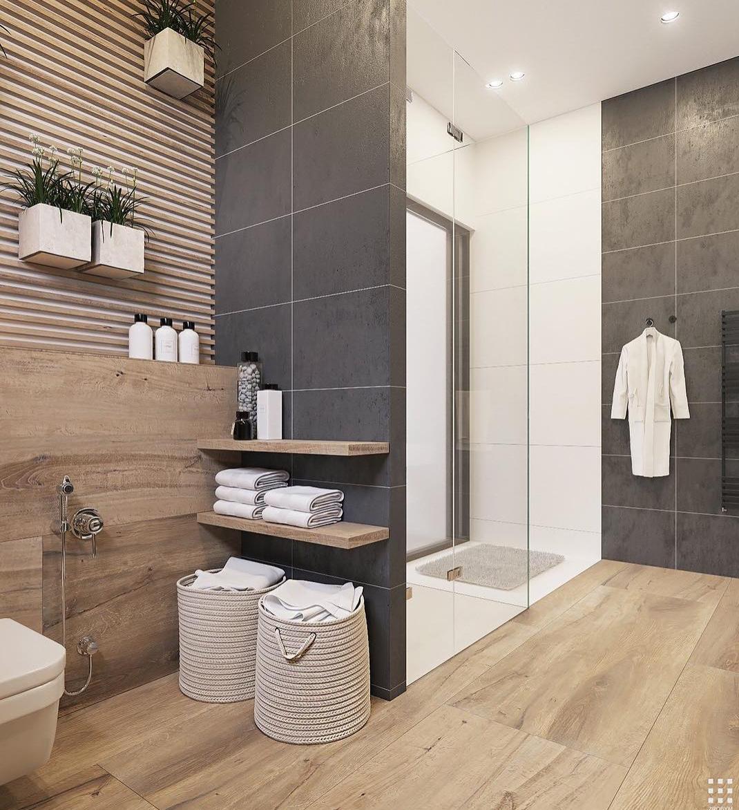 gray modern tile in bathroom via instagram   Wall and Floor Tile ...