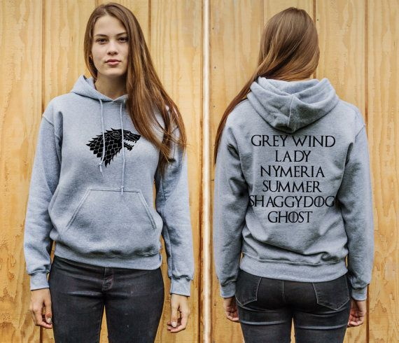Awesome hoodie, dire wolf in front and the stark children's dire wolves names on the back.