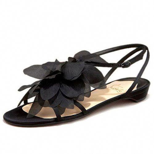 fc79c003a4a2 Christian Louboutin Petal Crepe Satin leather Sandals Flat Satin   ChristianLouboutin