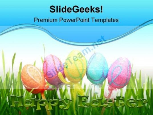 Easter Eggs Religion PowerPoint Template 0610 #PowerPoint #Templates