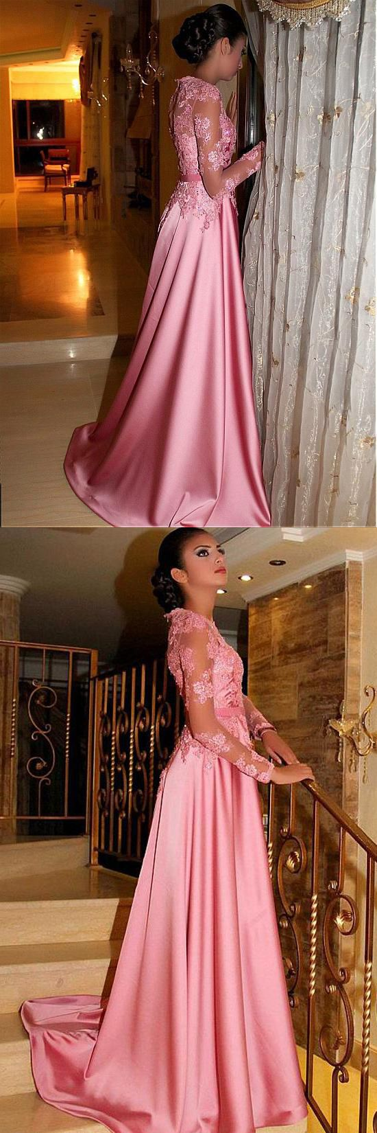 A line princess long sleeves lace high quality prom dress formal