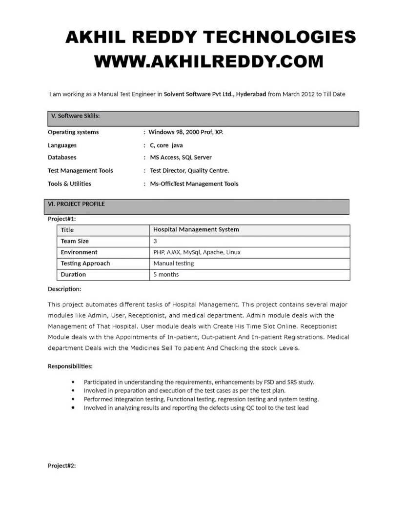 5 Years Testing Experience Resume Format | Resume Format | Pinterest ...
