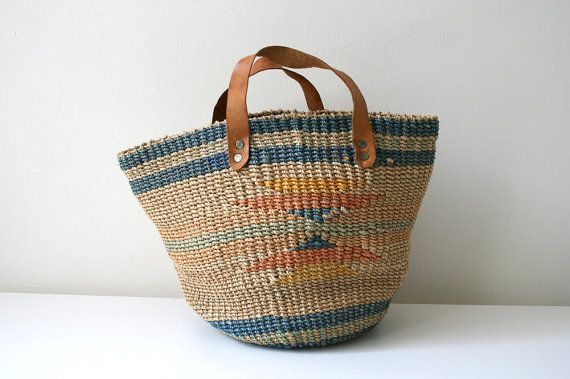 Sisal Market Tote by boxofhollyhocks on Etsy