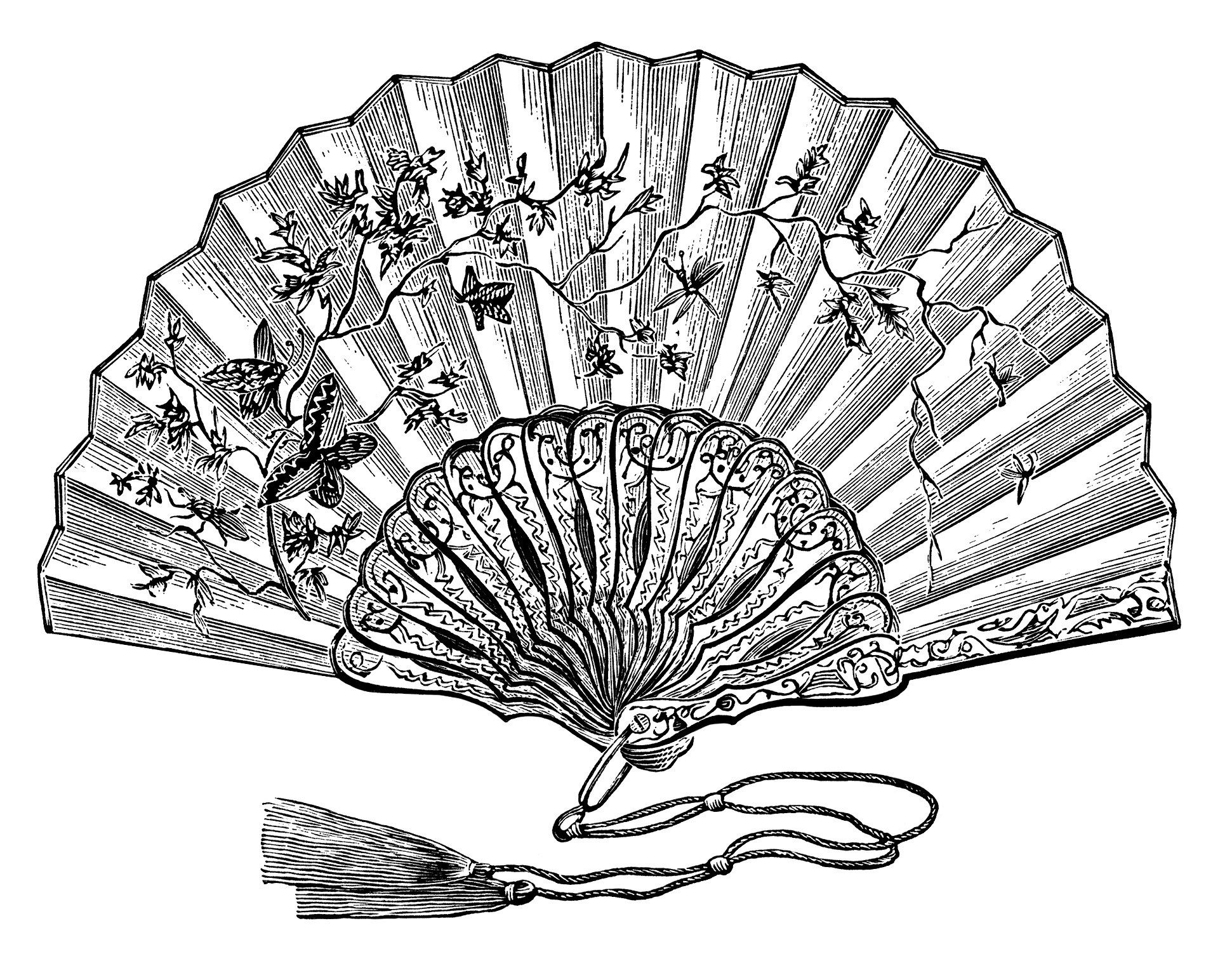 Victorian ladies fan, vintage ladies fan clipart, black and white ... for Fan Clipart Black And White  155sfw
